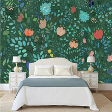 Nostalgic watercolor lily background wall professional production mural wholesale wallpaper custom photo