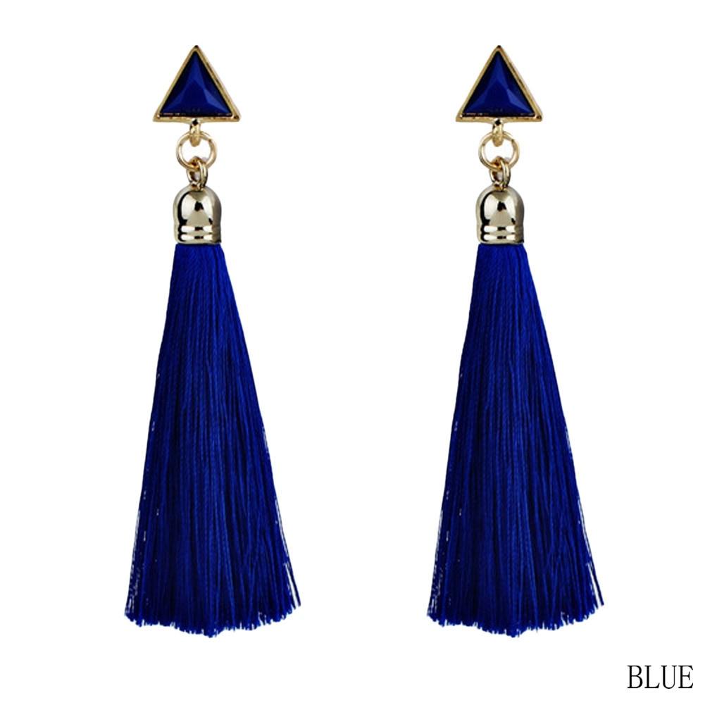 Fashion Bohemian Vintage Earrings Hollow Out Triangle Rhinestone Drop Long Tassel Earrings Jewelry For Women
