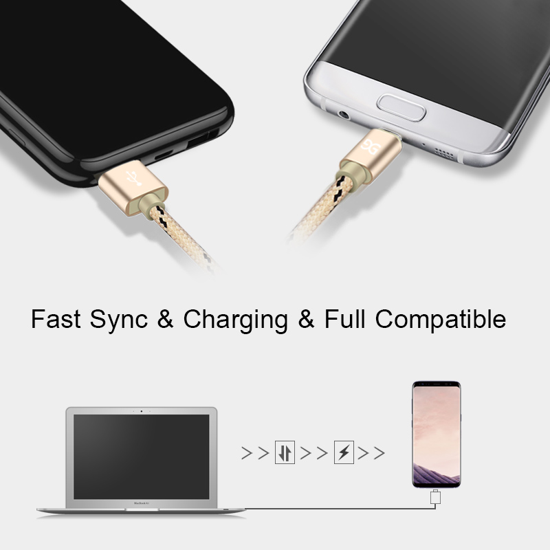 GUSGU Nylon Micro USB Cable 2A Fast USB Charging Cord Data Cable for Samsung Huawei Tablet Android Microusb Charger Cable Wire