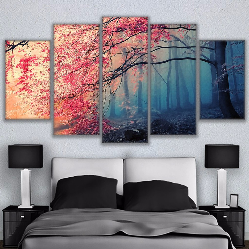 5 Panel Cherry Blossoms Pictures Red Trees Forest Printed Canvas Oil Painting Decor Wall Picture For Living Room Modern Style in Painting Calligraphy from Home Garden
