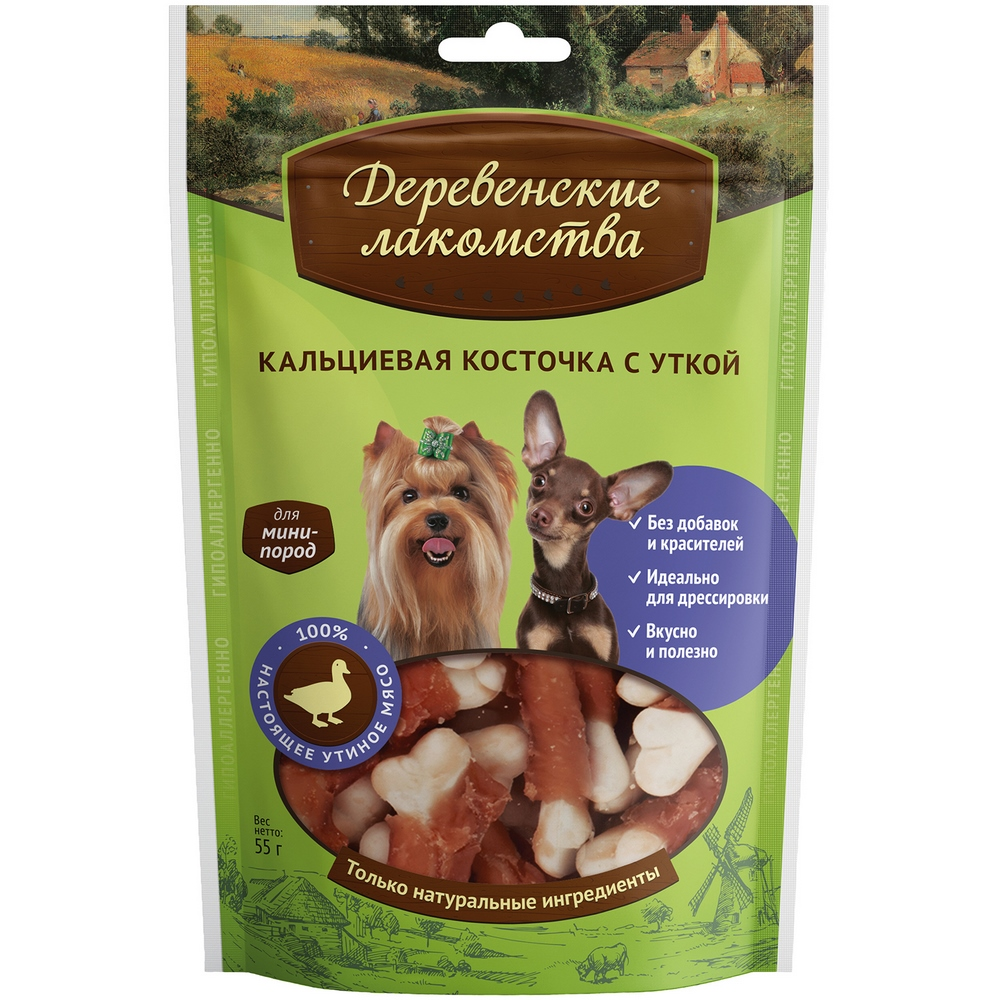 Dogs treats Village delicacies for mini breeds: Calcium bone with duck 55g storage of mango treated with calcium chloride