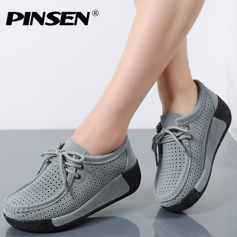 PINSEN Women Flats Platform Shoes   Suede     Leather   Lace up women Moccasins Creepers slipony Female Casual Summer Shoes Woman
