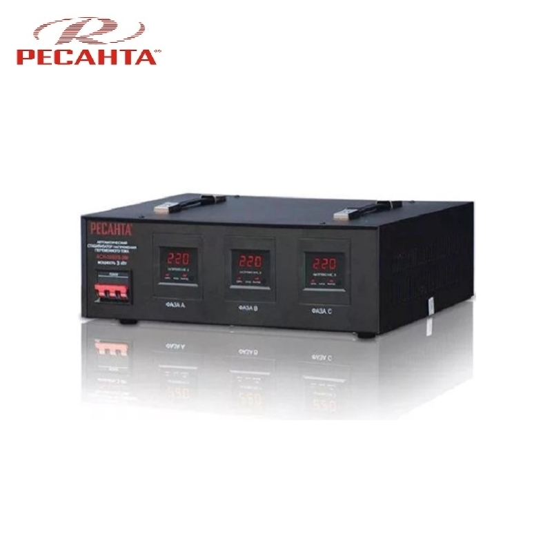Three phase voltage stabilizer RESANTA ASN 3000/3 Triphase Voltage regulator Monophase Mains stabilizer Surge protect Power stab single phase voltage stabilizer resanta asn 500 1 em voltage regulator monophase mains stabilizer surge protect power stab