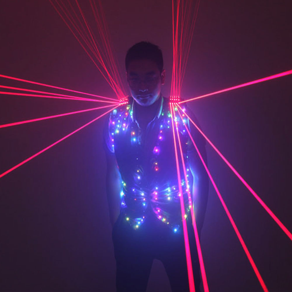 Fashion Red Laser Waistcoat Laserman LED Vest Suits Clothes Stage Costumes For Singer Dancer For Nightclub