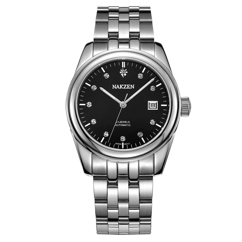 NAKZEN hombres reloj mecánico automático negocios zafiro cristal espejo diamante Miyota 8215 relojes de movimiento reloj Masculino-in Relojes mecánicos from Relojes de pulsera    1