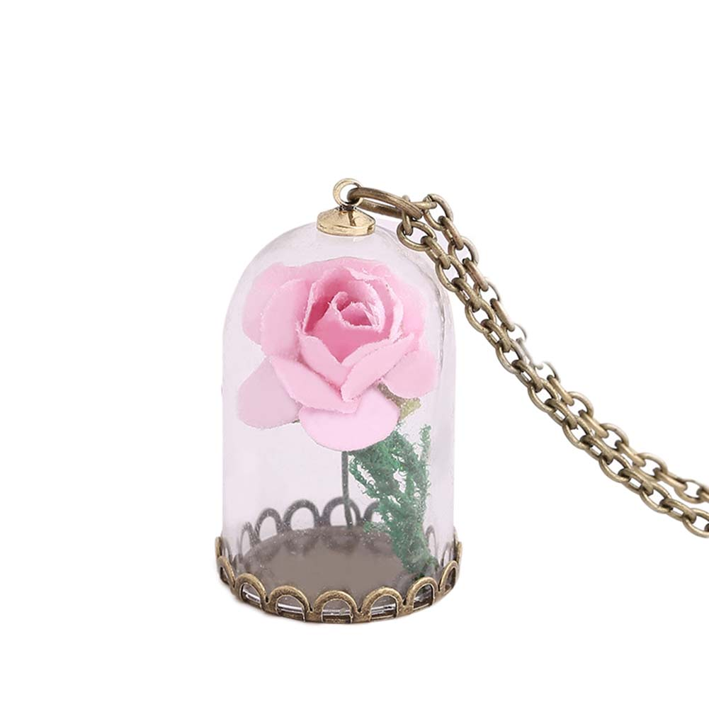 Luminous Glass Vial Necklace Little Prince Rose Necklace Retro Crystal Natural Dried Flowers Necklace Christmas Gifts Glowing