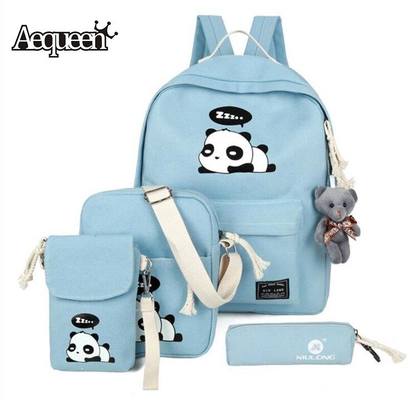 AEQUEEN 4 pcs Mode Toile Sac À Dos Set Cartables Mignon Panda Impression Bookbag Enfants Sacs de Voyage Sac À Dos Pour Fille Adolescents