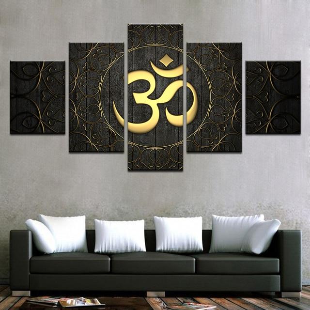 5 unids/set HD impreso enmarcado Buda om Yoga símbolo de oro ...