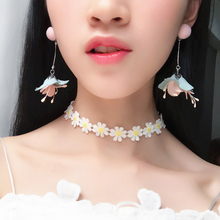 Fashion Elegant Flower Tassel Dangle Earrings Women Jewelry Gift