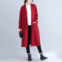 New 2018 Autumn Winter Long Cardigan Female Long Sleeve Knitted Sweater Jumper Solid Cardigan Women Pockets