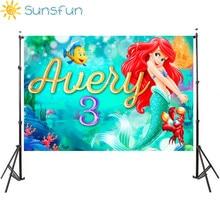 Sunsfun 7x5FT خلفية صورة مخصصة للاستوديو خلفية من الفينيل للأميرة الصغيرة حورية البحر والصخور والشعاب المرجانية