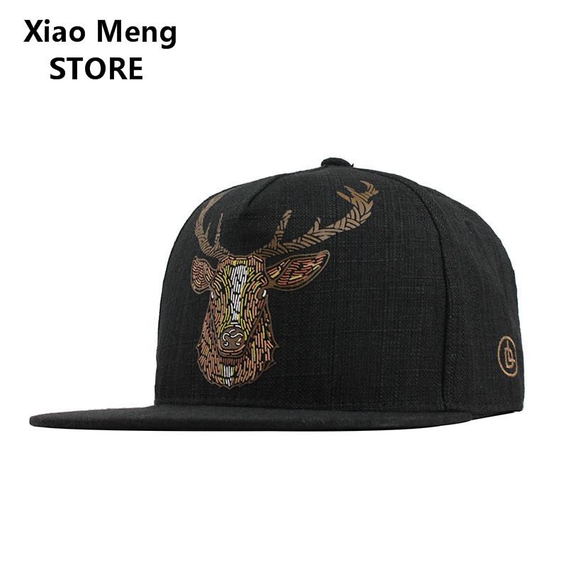 Summer Casual Elk Antler Cerf Deer Snapback Hats Women Men Okapi Deer Head Cotton Linen Baseball Caps Antler Hip Hop Sun Cap M5 boapt unisex letter embroidery cotton women hat snapback caps men casual hip hop hats summer retro brand baseball cap female