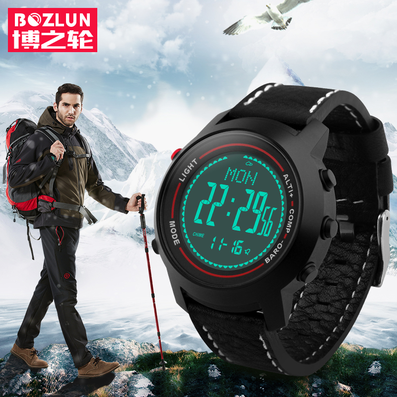 CAINO Men Sports Digital Wristwatches Compass Altimeter Barometer Leather Band Fashion Outdoor Watches Clock Relogio Masculino skmei outdoor sports watches fashion compass altimeter barometer thermometer digital watch men hiking wristwatches relogio