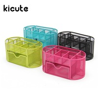 Kicute 4 Color Desk Organizer Mesh Metal Desktop Office Pen Pencil Holder Storage 9 Compartment Stationery
