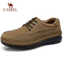 CAMEL Genuine Leather Men's Shoes Handmade Man Outdoor Casual Shoes Thick Bottom Stitching Non-slip Male Footwear