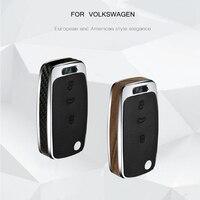 Car Key Case Cover Wood/Carbon Fiber Key Shell Holder Remote For C TREK Volkswagen VW Polo Passat Tiguan Bora Gift Accessories