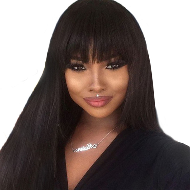 150% Rett 13 * 4 Lace Front Human Hair Parykker Med Bangs Natural Black Brazilian Remy Hair For Women Pre Plukket Bleached Knots