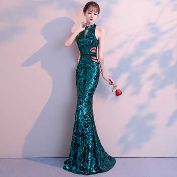 weiyin 2020 New Sexy Mermaid Long Evening Dresses Vestido de Festa Luxury Green Sequin Formal Party Dress Prom Gowns