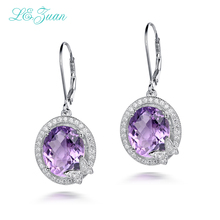 L&zuan Checkerboard Cut 8.48ct Natural Amethyst Real 925 Sterling Silver Jewelry Luxury Earrings Wedding Gift For Women