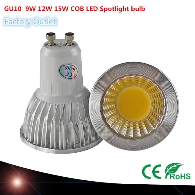 Super Brilhante GU10 Lâmpada Dimmable Led luz de Teto Quente/Branco 9 w 12 85-265 v w 15 w GU10 GU10 levou Holofotes COB LEVOU lâmpada de luz