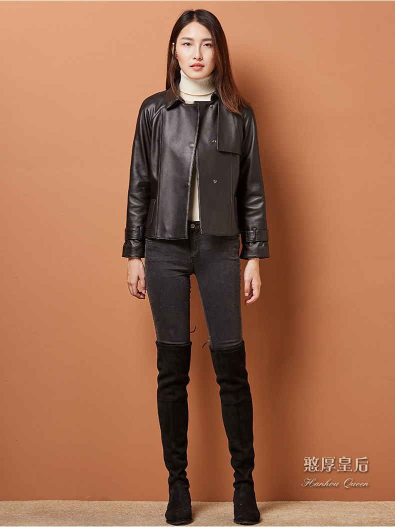 2017 New arrive real Sheep leather women jacket