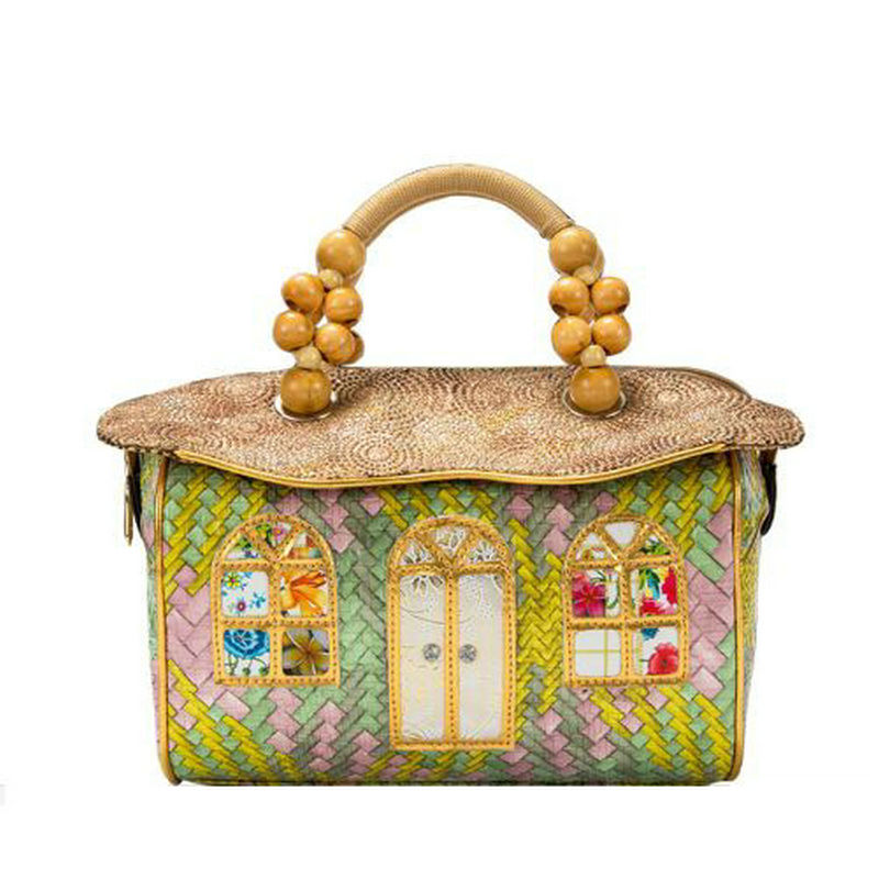 2018 new Fairy tales house handbag handmade designed unique lolita bag women's cute tote rope handle handbag novelty shaped bag english fairy tales