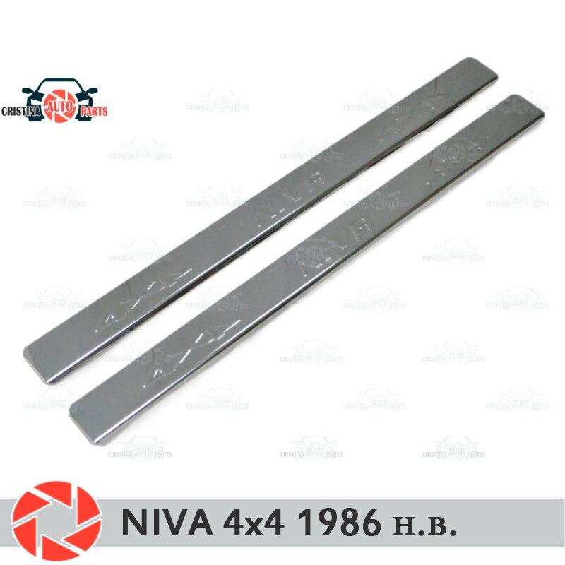 Soleiras de porta para Lada Niva 4x4 1986-2018 proteção guarnição scuff placa passo interior car styling decoração letras selo versão longa