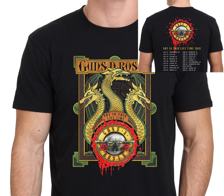 2018 New T Shirt Print New Guns N Roses Not In This Life Time Crew Neck Short-Sleeve Tee For Men