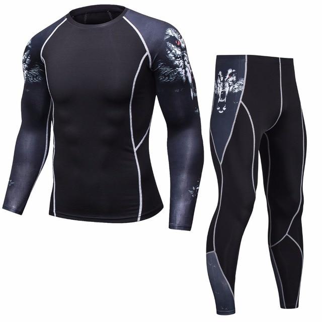 K Berlaku MMA Lengan Panjang CrossFit Pria T Shirt Kompresi Sportswear Set Pria Panas Kebugaran Pakaian Latihan Yg Hangat untuk Pria Kemeja