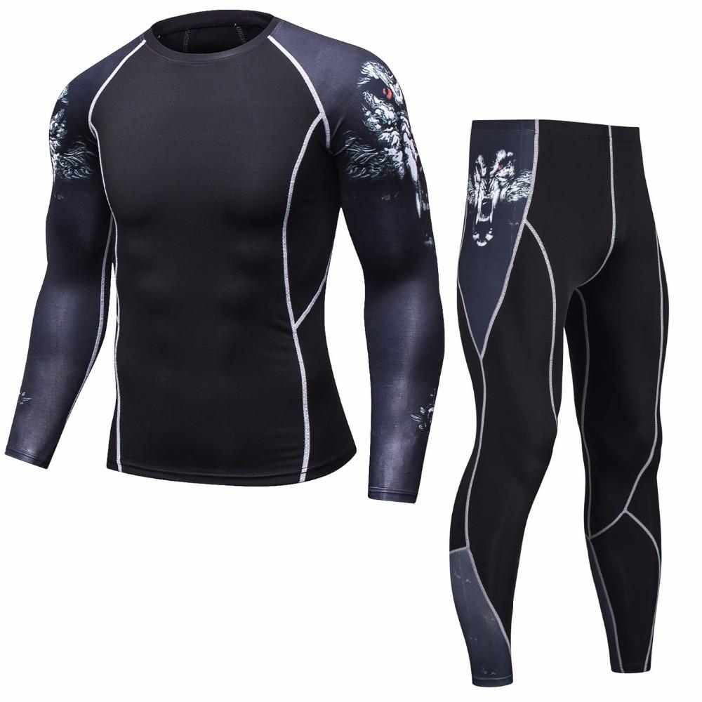 Rashguard MMA Long Sleeve Crossfit Men T Shirt Compression Sportswear Set Men Thermal Fitness Clothing Tracksuit For Men Shirt