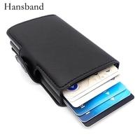 Double Case Rfid Wallets PU Leather Rfid Blocking Slim Mini Wallet Aluminum Automatic Credit Card Holder