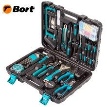 Набор ручного инструмента Bort BTK-100  (Набор из 100 предметов, выполненных и высококачественной стали в удобном кейсе. Молоток, ножовка, отвертки, бокорезы, ключ разводной и тд.)