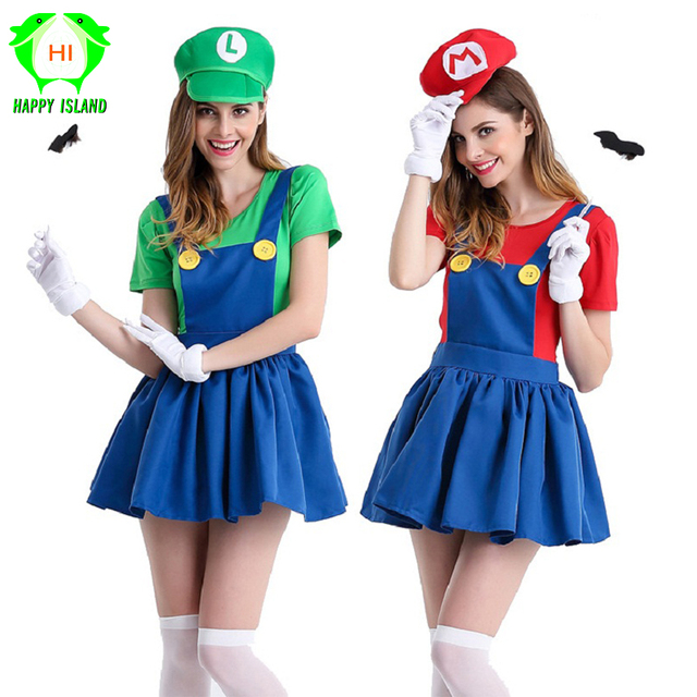 Halloween Super Mario Costume Women Luigi Costume Clothing Sexy Plumber  Costume Super Mario Bros Fantasia Costumes For Adults 69b2025d461