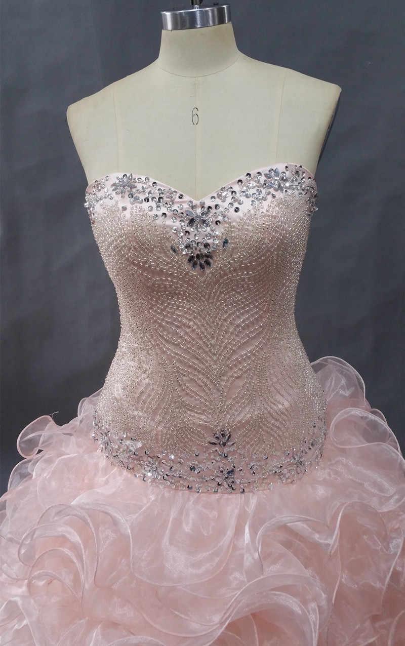 קריסטל ואגלי זול Quinceanera שמלות נשף שמלות Sweet Sixteen שמלות נסיכת 15 שנה מתוקה אלמוגים