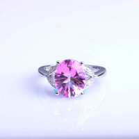 Created Pink Red Ruby Engagement 925 Sterling Silver Ring Wedding Ring for women