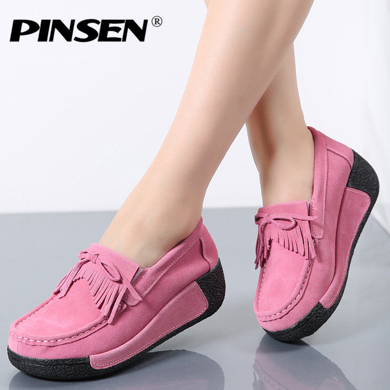 PINSEN Women Flat Platform Loafers Ladies Elegant Suede Moccasins Fringe Shoes Woman Slip On Tassel Moccasin Women Casual Shoes new suede leather women shoes loafers slip on sewing driving flats tassel woman breathable moccasins blue ladies boat flat shoes