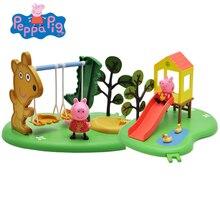 Oryginalna świnka Peppa zabawa na świeżym powietrzu huśtawka huśtawka plac zabaw zestaw zabaw Peppa sceny chłopiec dziewczyna figurki zabawka edukacyjna prezent