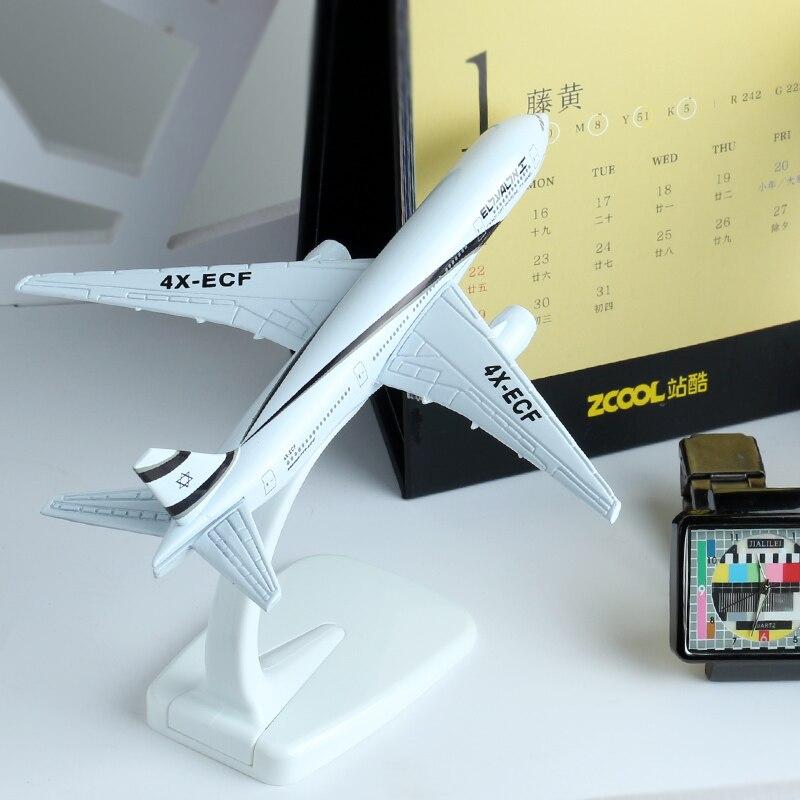 16cm El Al Israel Boeing 777 Airline Plane Model Alloy Aviation Model B777 Aircraft Israel Airbus Model Stand Craft Toys 1:400