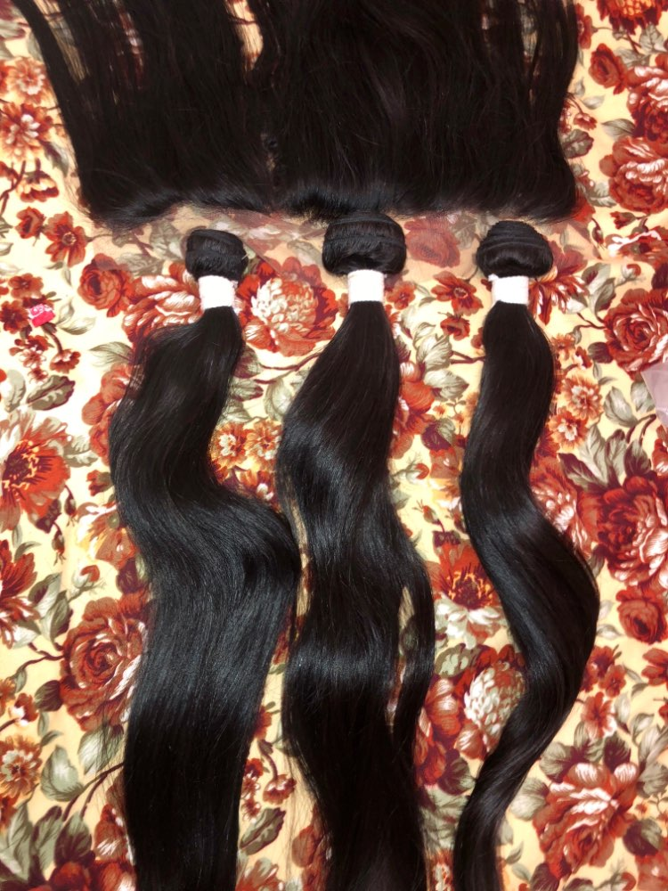HC Hair Ear To Ear Lace Frontal Closure With 3 Bundles Brazilian Straight Human hair Weaves With Closures Non Remy 4 Pcs/Lot