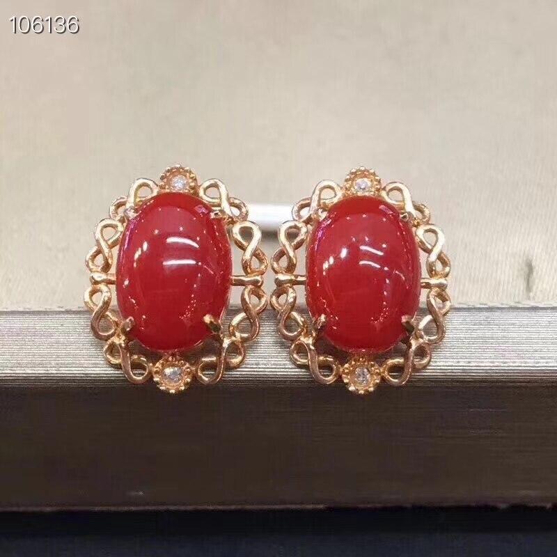 KJJEAXCMY haute bijoux 925 argent incrusté naturel rouge corail dames boucles d'oreilles ensemble détection de soutien
