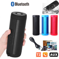T2 Bluetooth Speaker Wireless speaker Outdoor Waterproof Portable column USB FM Radio AUX Music Player Boombox with Flash light