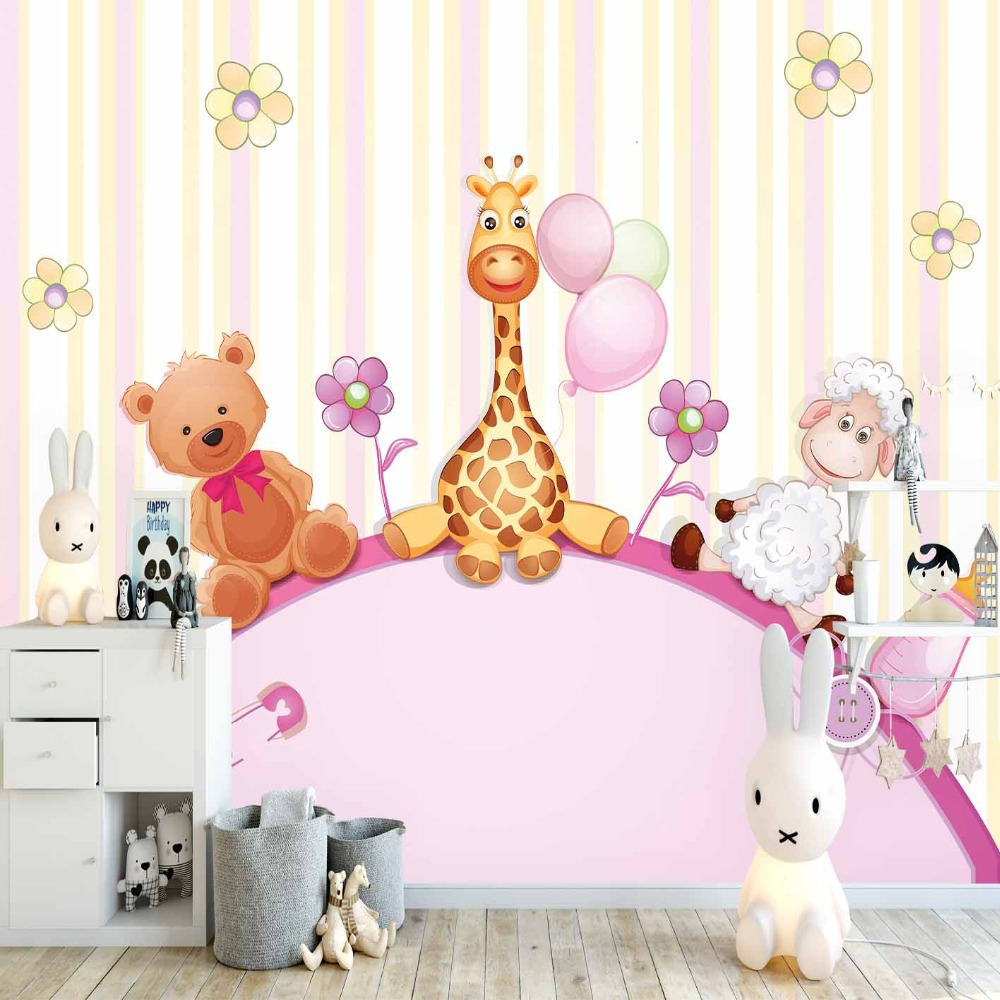 Else Pink Yellow Stripe Cute Giraffe Bear Lamps 3d Print Cartoon Cleanable Fabric Mural Kids Children Room Background Wallpaper