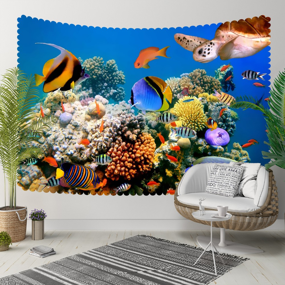 Else Tropical Aquarium Yellow Black Fishes Under Sea 3D Print Decorative Hippi Bohemian Wall Hanging Landscape Tapestry Wall Art