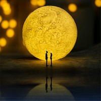 Rechargeable Touch Sensor Adjusted Brightness 3D Full Moon Shadow Lamp LED Night Light USB Desk Table