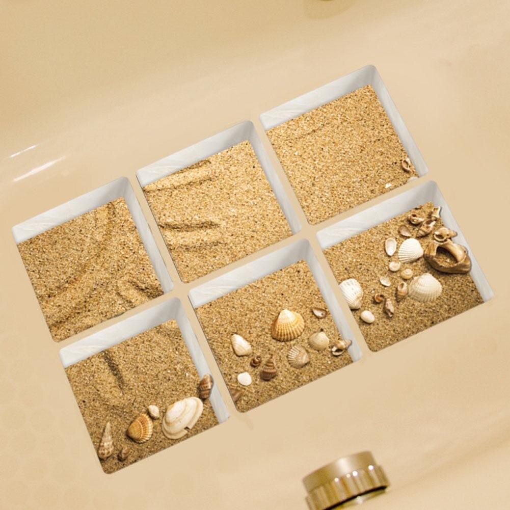 6Pcs/Set! 3D Anti Slip Waterproof PVC Bathtub Sticker Decor Decals ...