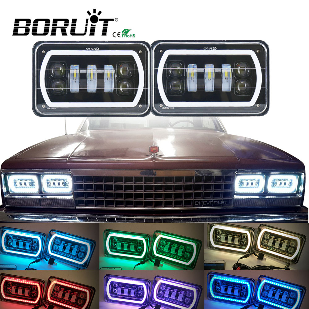 1 Pair 4x6 Inch RGB Square Led Headlight Reflector Sealed Beam Replacement with High/Low Beam and DRL for Jeep Truck 4X4 Offroad pair 4x6 inch 45w led sealed headlight h4651 h4652 h4656 h4666 h654 truck headlamp replacement heavy duty trucks work light