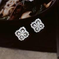 Brand Pure 925 Sterling Silver Jewelry For Women Lotus Flower Earrings Flower Earrings Luck Clover Design Wedding Party Earrings