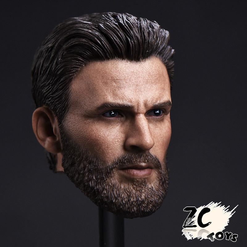 1//6 Scale Annex Male Head Sculpt T-Captain America Chris Evans Bearded Model Toy
