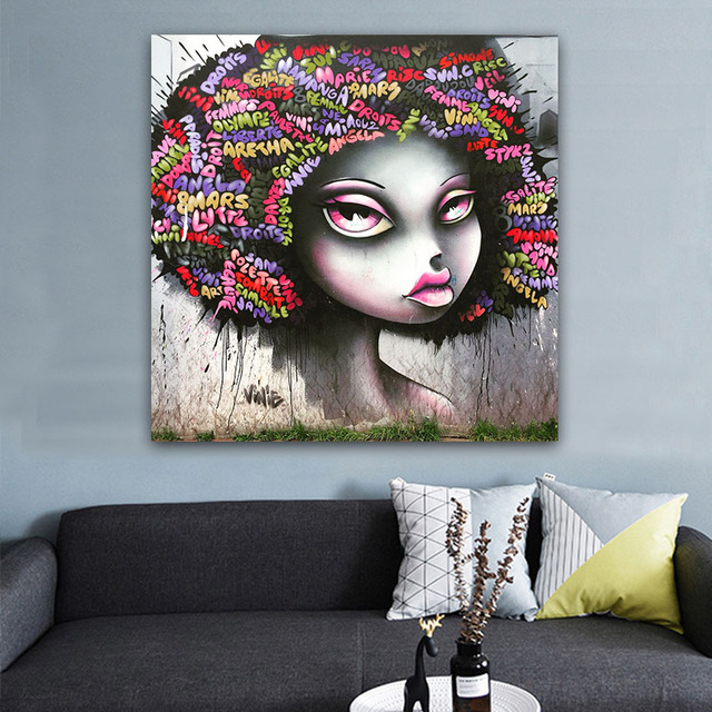 Wall Art African American Black Abstract Portrait Canvas Afro Women Poster Painting For Room