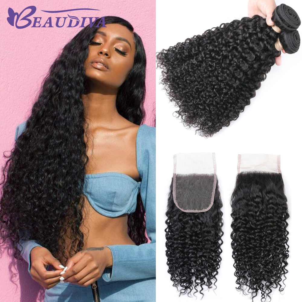 Beaudiva Hair Malaysian Kinky Curly Hair Bundles Remy Human Hair Extensions Nature Color Can Buy Bundles